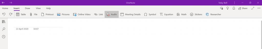 onenote audio