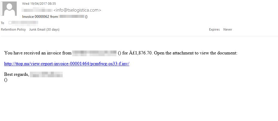 phishing email example